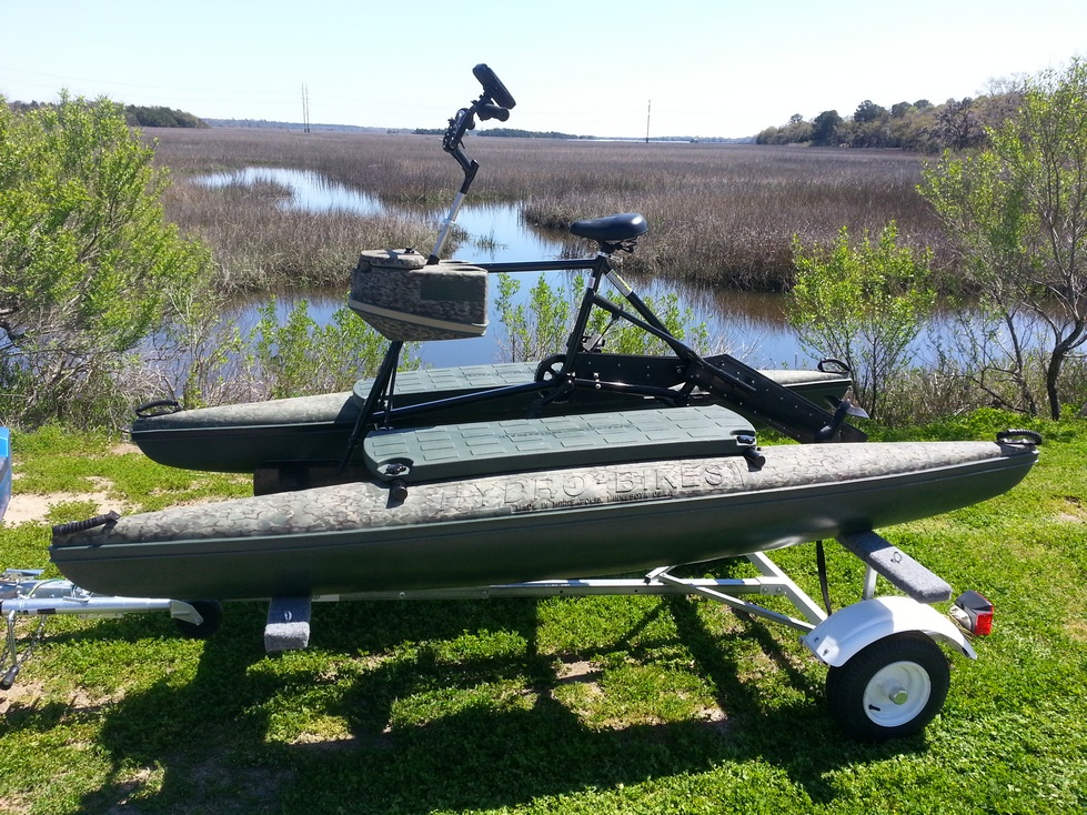 The Handy Hydrobike Trailer carries 2 Hydrobikes. John Rakush