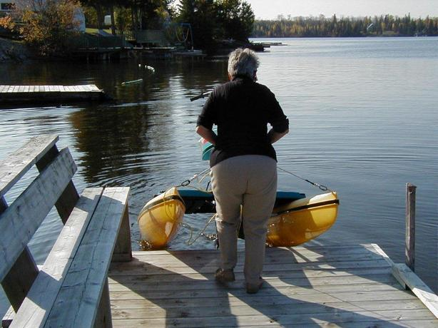 Senior docking a Hydrobike