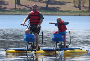 Dad and son on Hydrobikes