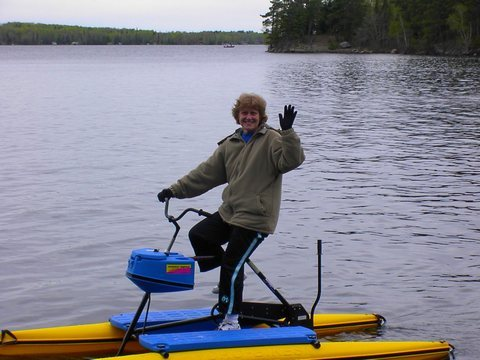 Shirley Tode on a Hydrobike